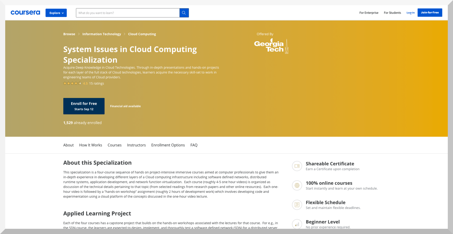 Special Issues in Cloud Computing Specialization by Georgia Tech – Coursera