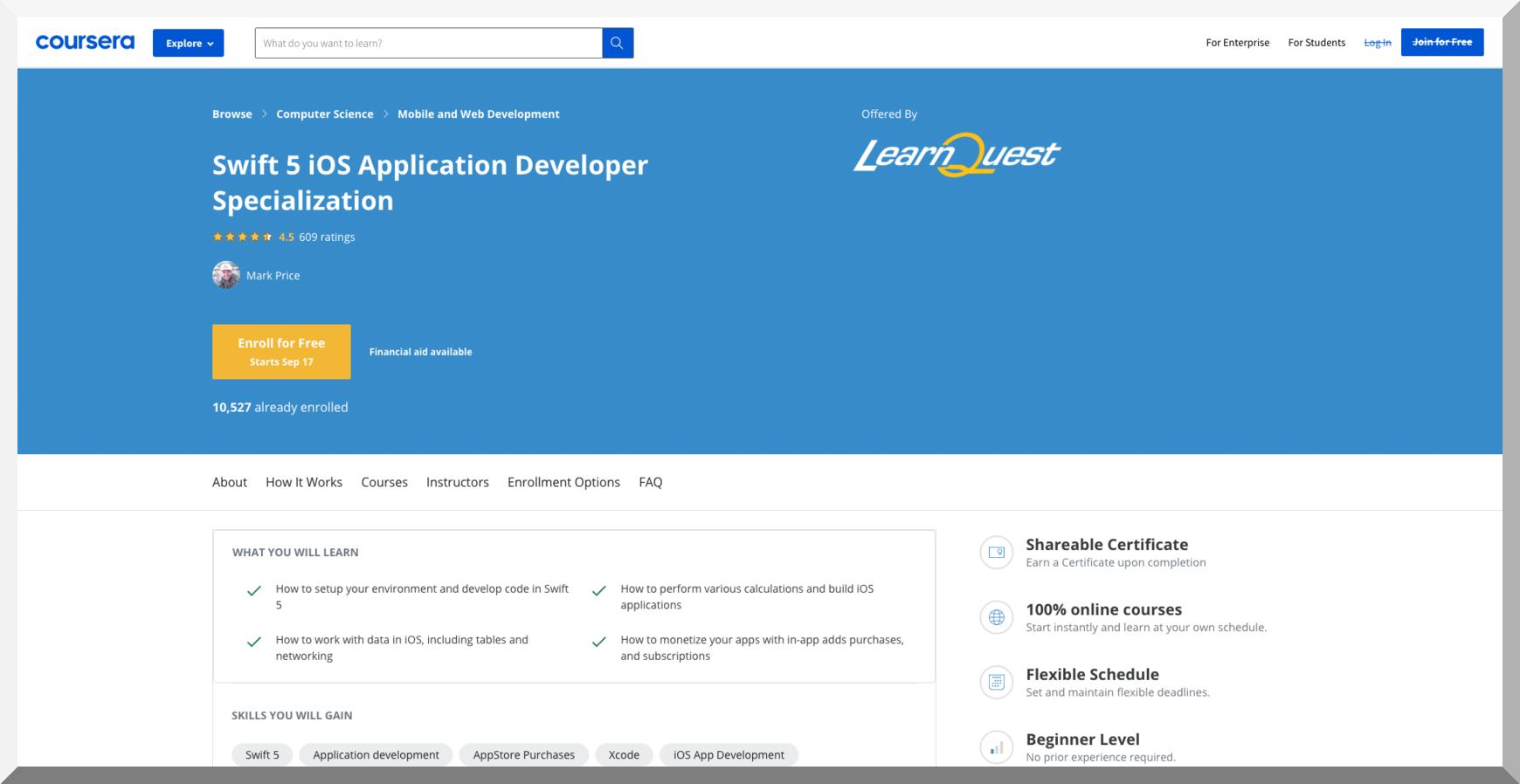 Swift 5 iOS Application Developer Specialization – Coursera