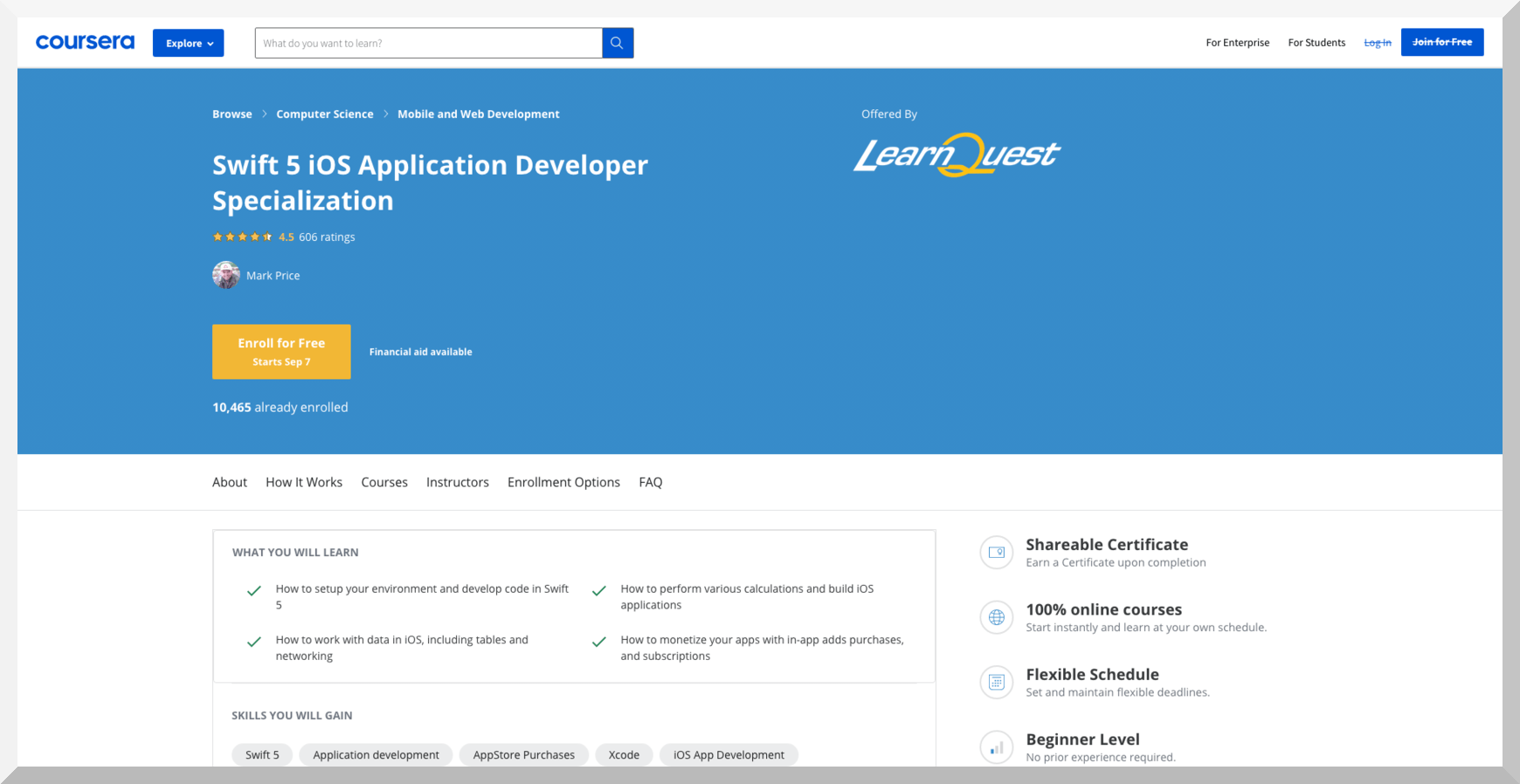 Swift 5 iOS Application Developer Specialization by Learn Quest – Coursera