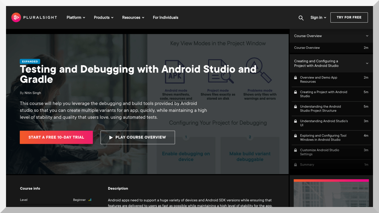Testing and Debugging with Android Studio and Gradle – Pluralsight