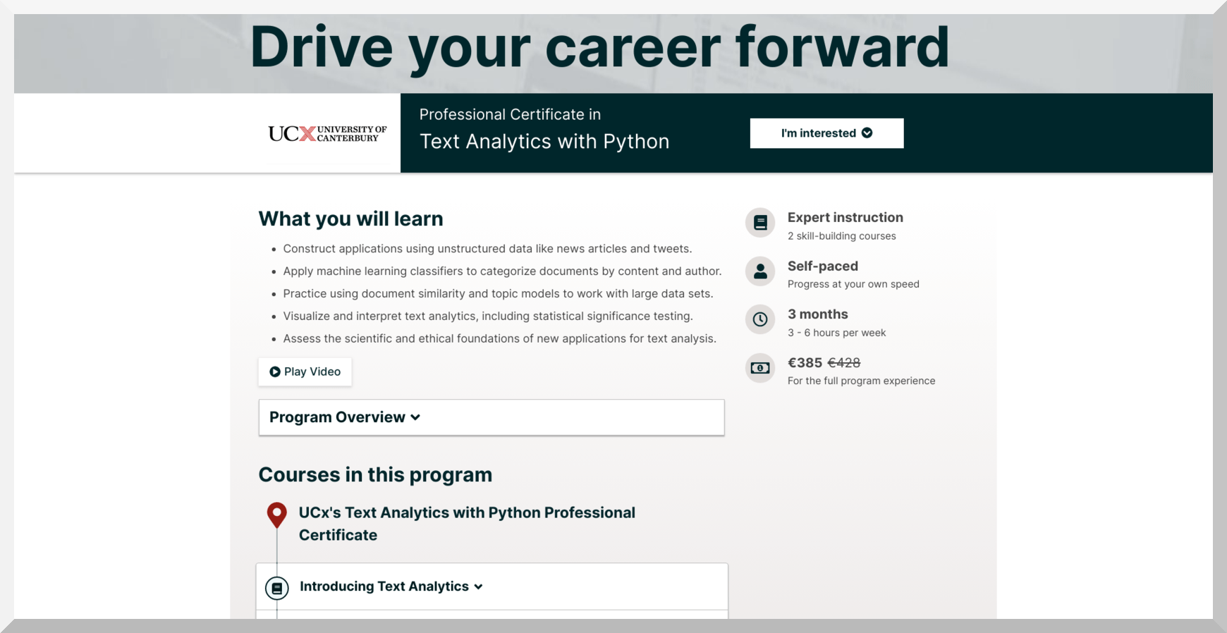 Text Analytics with Python by University of Canterbury – edX