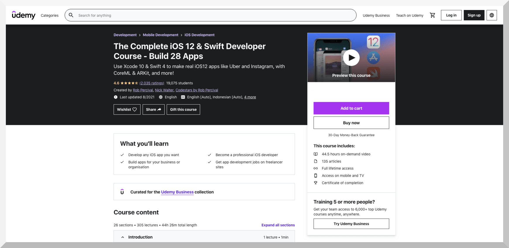 The Complete iOS 12 and Swift Developer Course – Build 28 Apps – Udemy