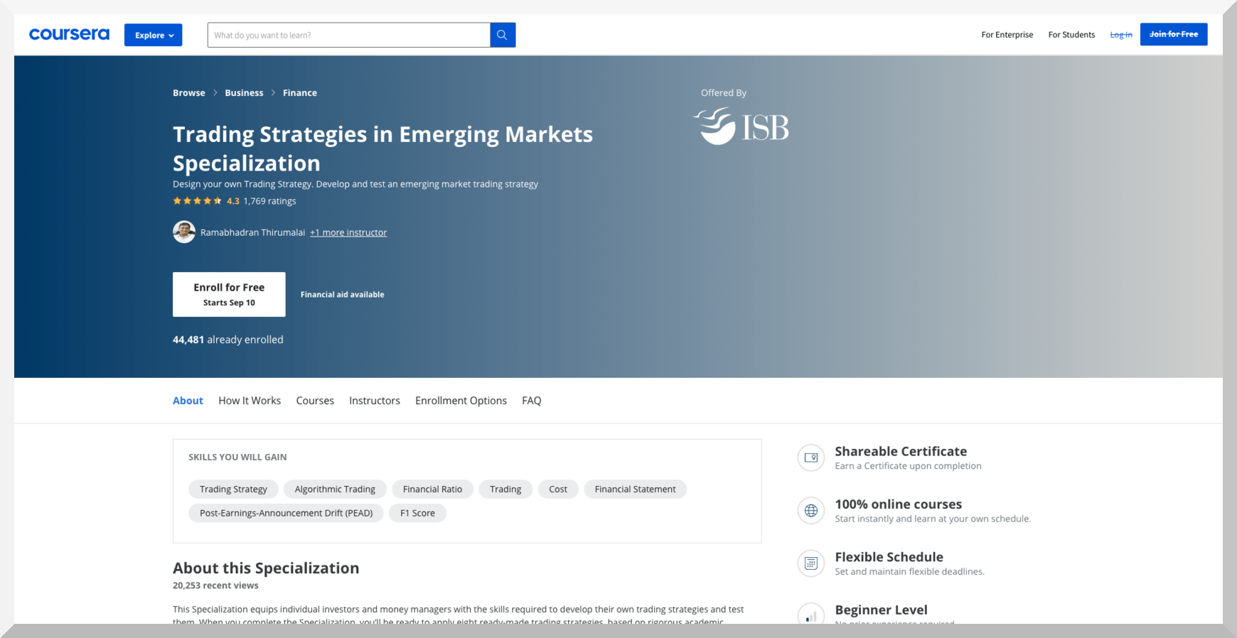Trading Strategies in Emerging Markets Specialization- Coursera