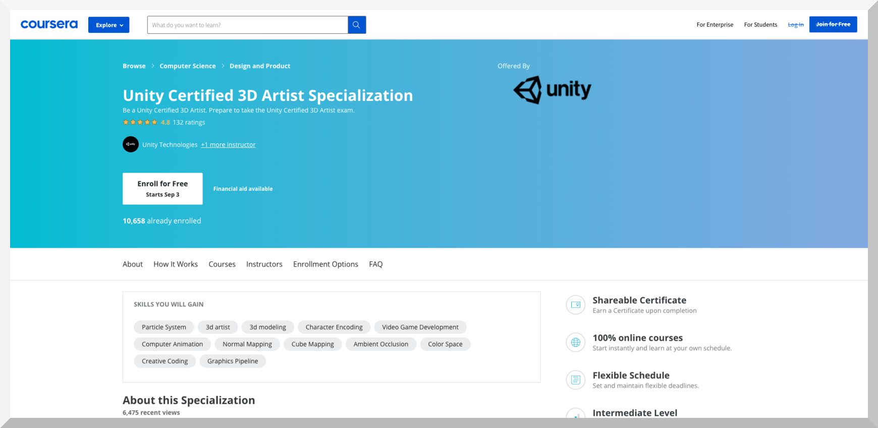 Unity Certified 3D Artist Specialization by Unity – Coursera