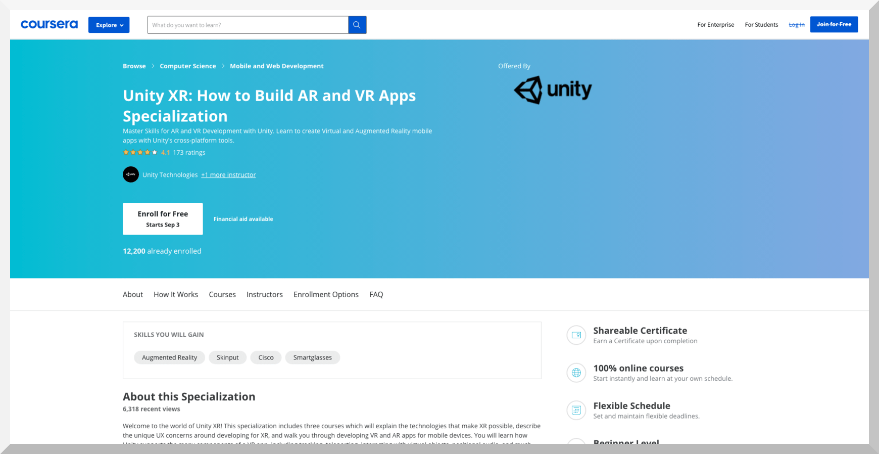 Unity XR- How to Build AR and VR Apps Specialization – Coursera