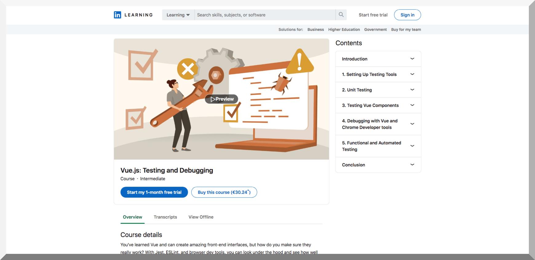 Vue.js- Testing and Debugging – LinkedIn Learning