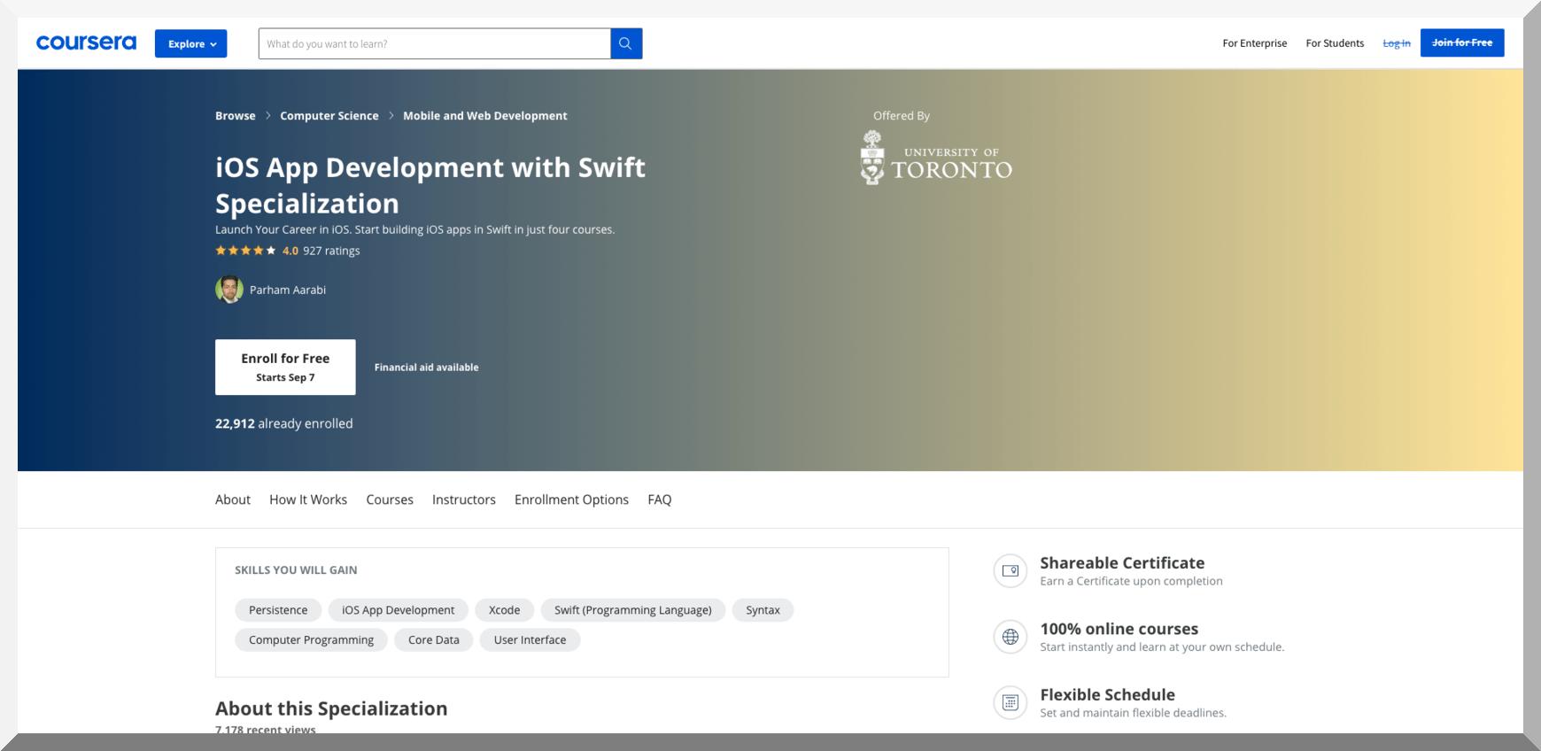 iOS App Development with Swift Specialization – Coursera