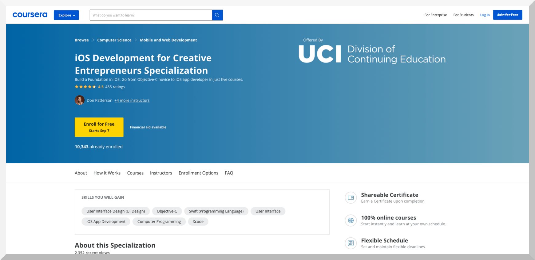 iOS Development for Creative Entrepreneurs Specialization – Coursera