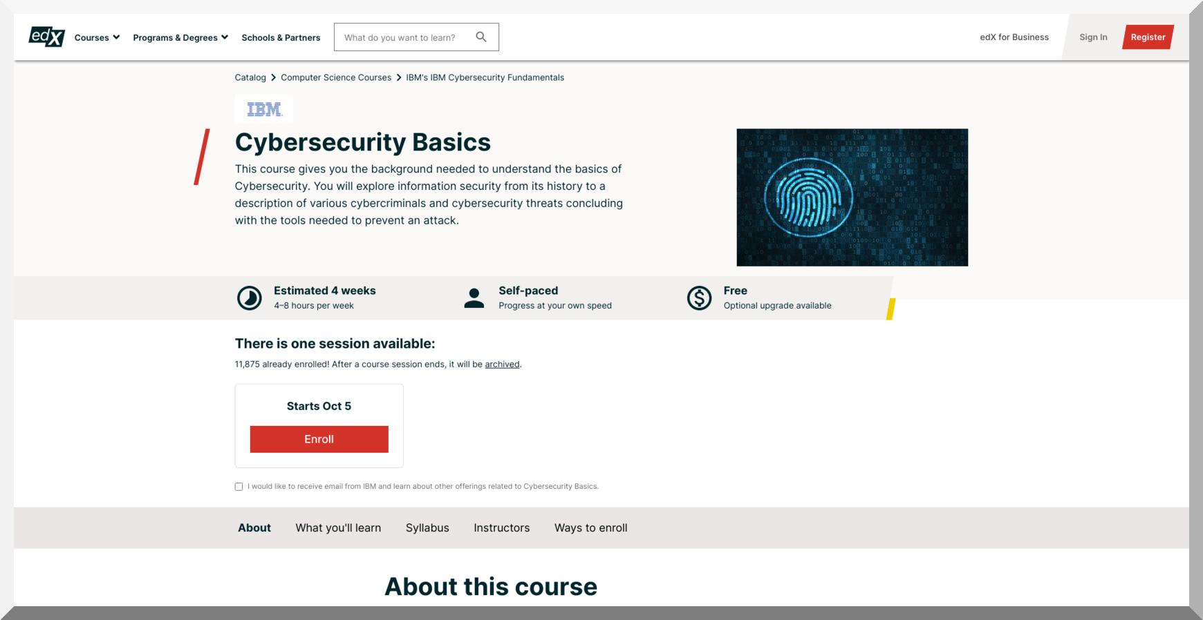 Cybersecurity Basics IBM – edX