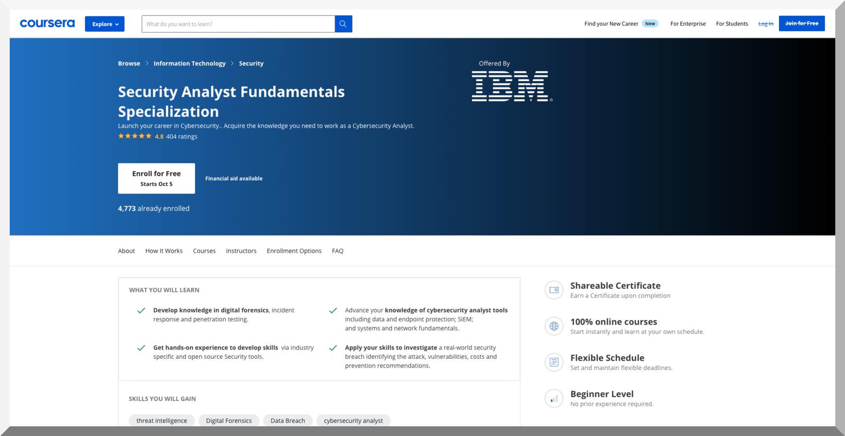 IBM Security Analyst Fundamentals Specialization – Coursera