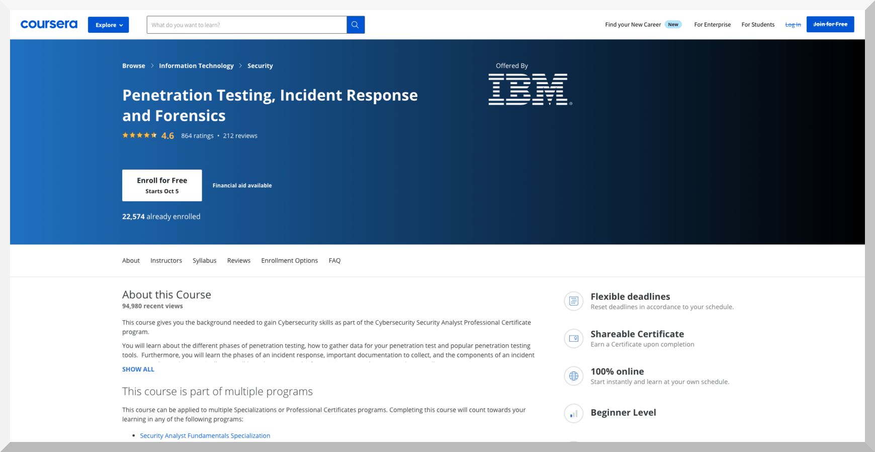 Penetration Testing, Incident Response and Forensics by IBM – Coursera