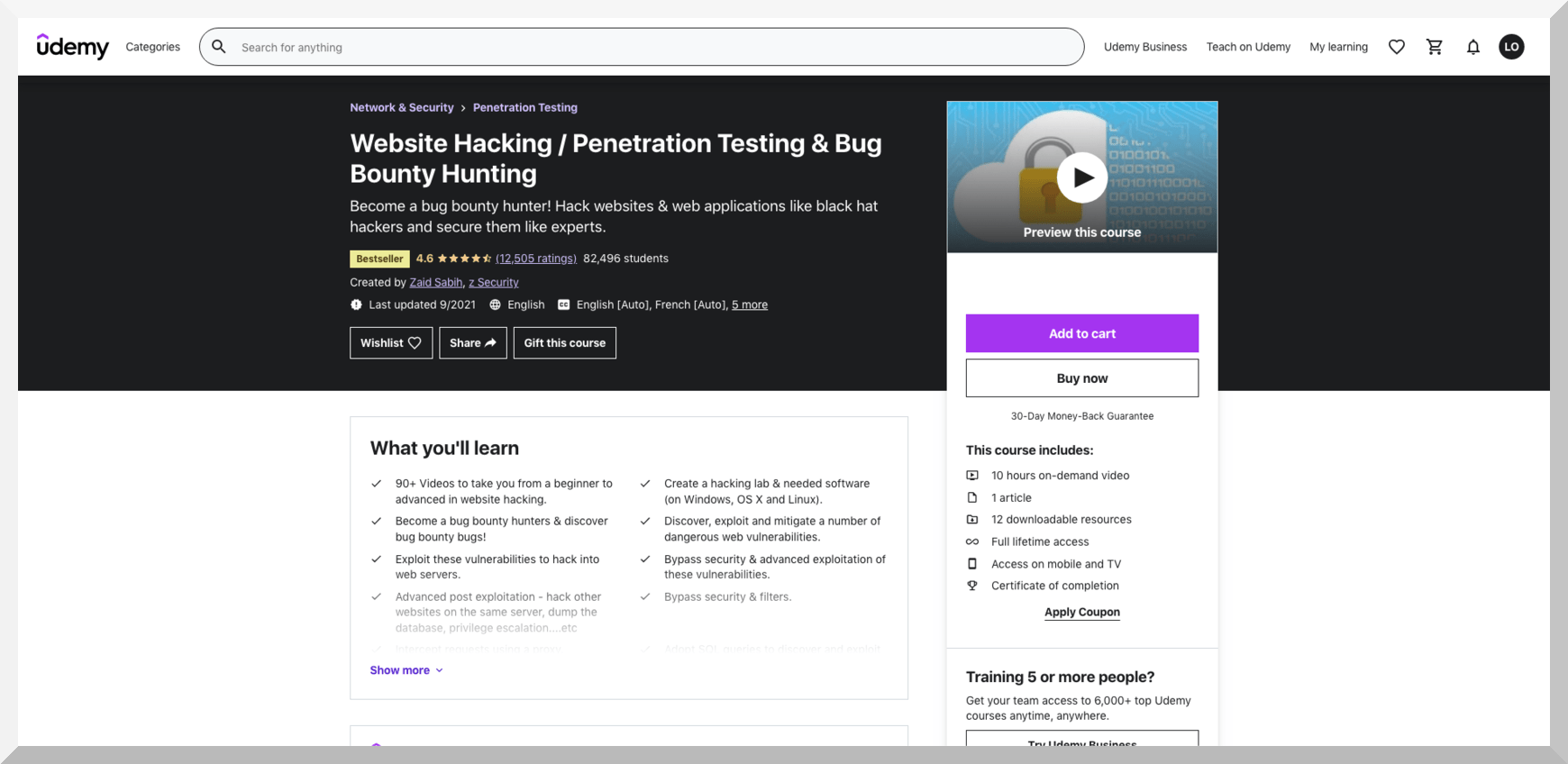 Website Hacking, Penetration Testing, and Bug Bounty Hunting – Udemy